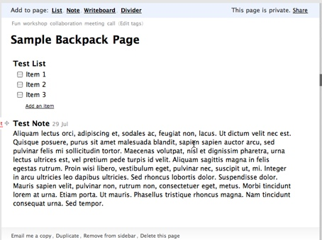 Screenshot showing sample content within a Backpack page