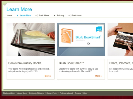 Screenshot of the introductory page on Blurb