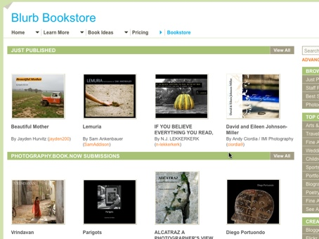 Screenshot of the Blurb Bookstore where users can publish and sell their works