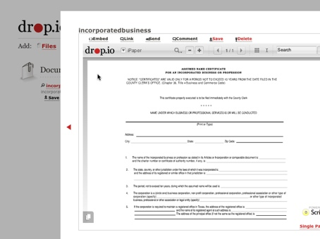 Drop.io uses iPaper technology to preview common file formats like PDFs
