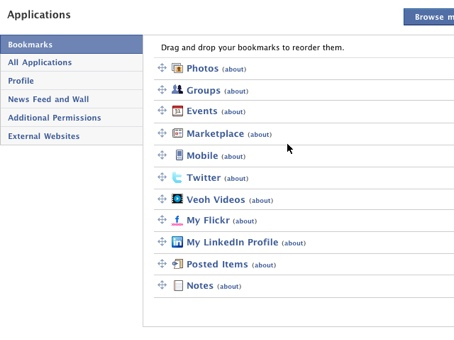 Screenshot of just a few of the thousands of plugin applications available on Facebook