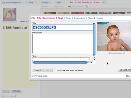 Screenshot showing the Flickr image organization and description page