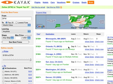 Screenshot showing Kayak's Buzz feature which displays deals other users have found