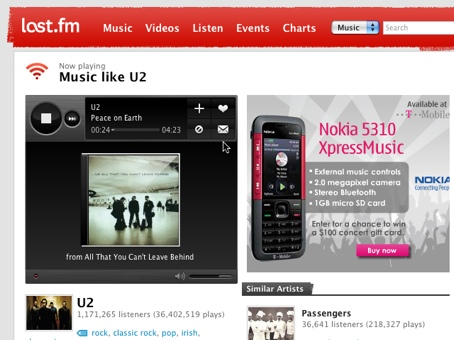 Screenshot of Last.FM online music player