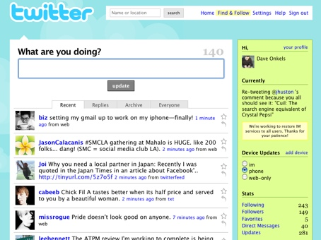 Screenshot of the Twitter dashboard after signing in