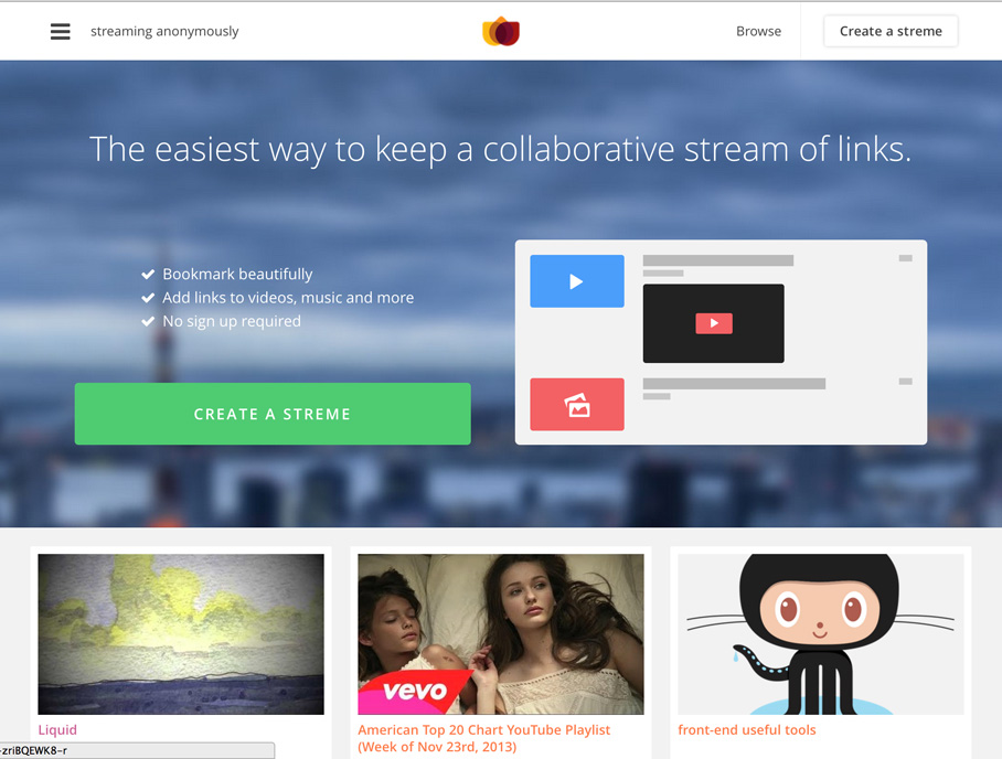 Streme – Curated Links Around Any Theme | AppVita